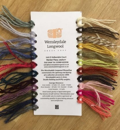 Wensleydale Longwool Sheep Shop Shade Card - back