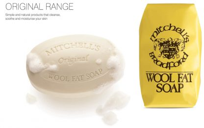 Mitchells Wool Fat Soap - showing both lathered soap and in paper wrapping
