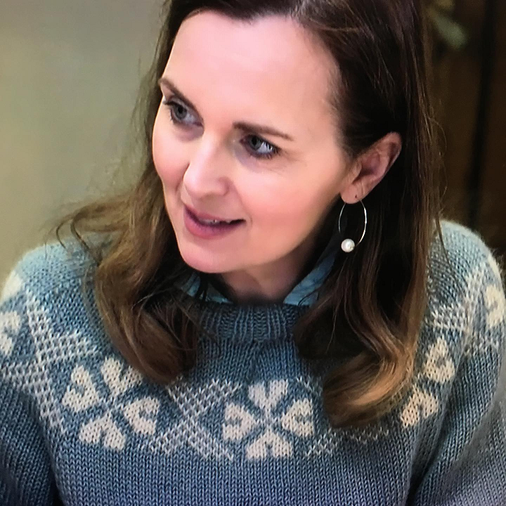 Celebrity Debra Stephenson in her Wensleydale Longwool jumper