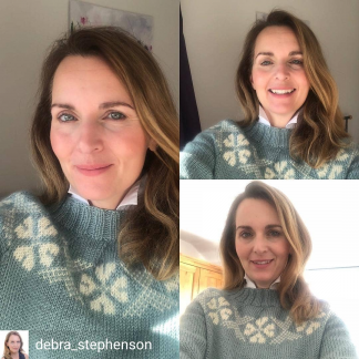 Celebrity Debra Stephenson reviews her Wensleydale Stanger jumper in Fennel and Natural Aran