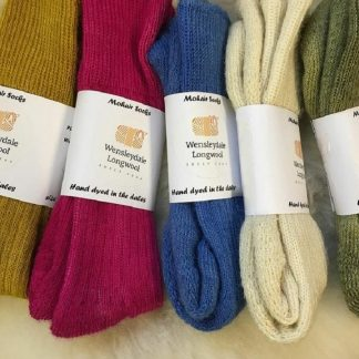 Sheep Shop hand dyed Mohair boot socks in various colours