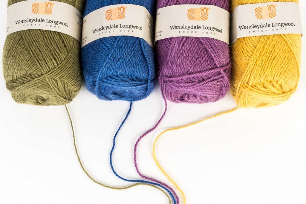 Wensleydale Longwool Sheep Shop yarn balls with strands