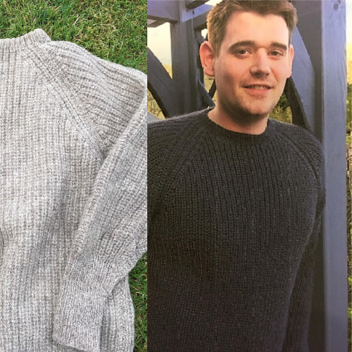 Fishermans Rib Sweaters - one vintage the other new in Wensleydale Aran