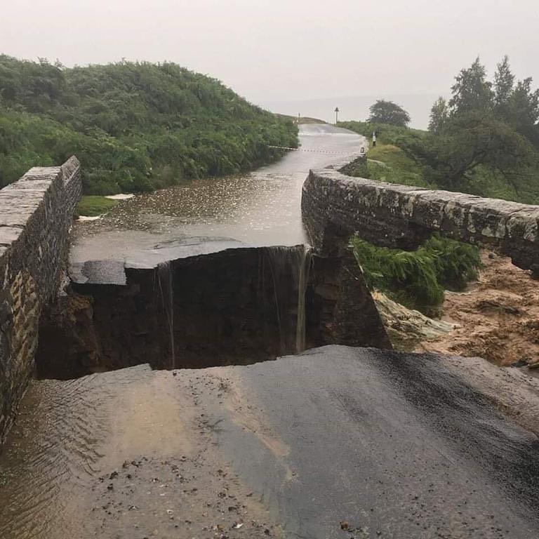 Collapsed Bridge - Grinton Moor during floods