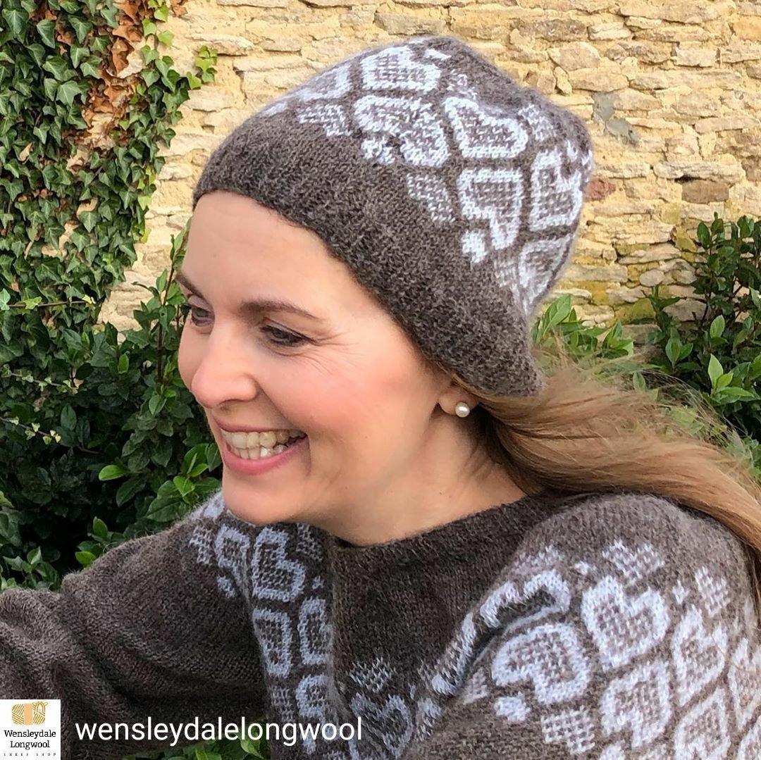 Debra Stephenson wearing Wensleydale Longwool After_the_Rain jumper and hat