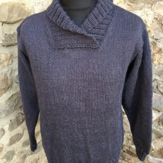 Leyburn Shawl sweater - Storm front