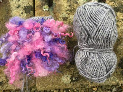 Wensleydale Dyed Fleece Cushion - Lavender mix
