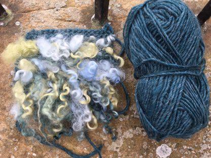 Wensleydale Dyed Fleece Cushion - Ocean mix