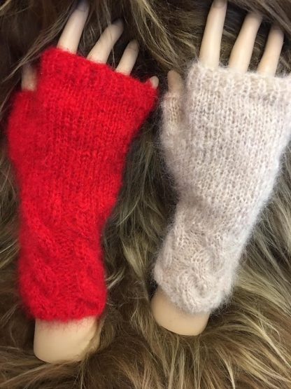 Mohair Fingerless Gloves in red and biscuit colours