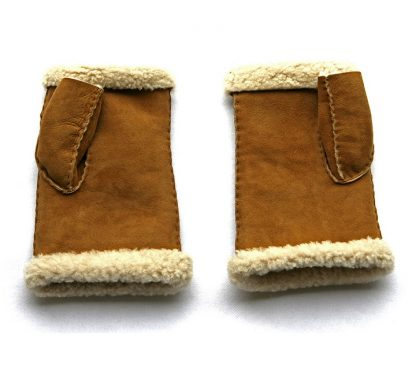 Lambskin Fingerless Mittens - Tan