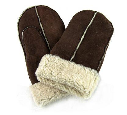 Pieced Sheepskin Mittens - Brown