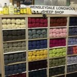 Interior of Wensleydale Longwool Sheep Shop showing the colourful pure British wool
