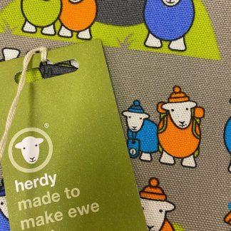 Herdy Hiker Tea Towel detail and label