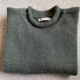 Hunton jumper in Wensleydale Spruce Aran wool folded