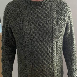 Traditional Aran Sweater in Wensleydale Spruce - front view