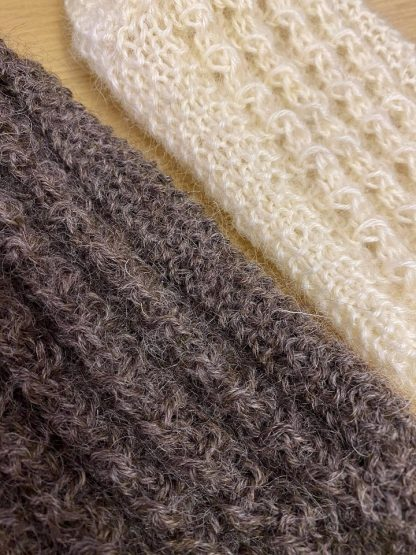 Wensleydale Lounge Socks in undyed Natural white and black (detail)