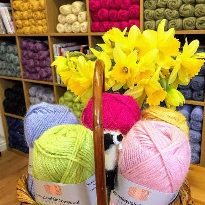 Spring daffodils in a basket with Wensleydale wool