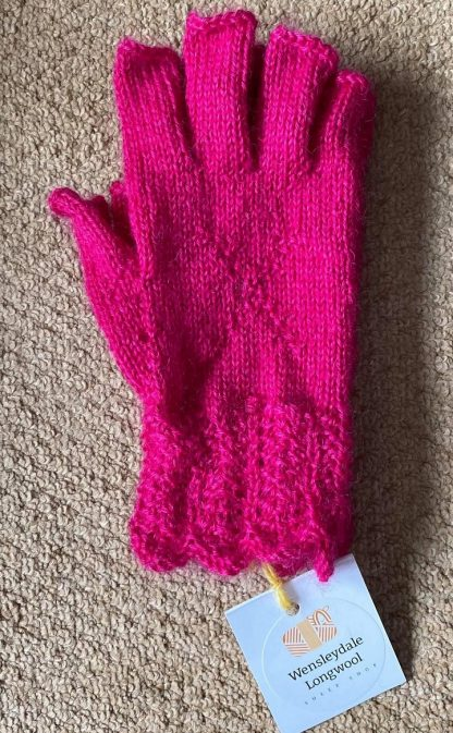Wensleydale Hand Knit Fingerless Gloves - Hot Pink