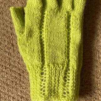 Wensleydale Hand Knit Fingerless Gloves - Lime Sherbet
