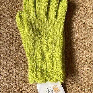 Wensleydale Hand Knit Gloves - Lime Sherbet