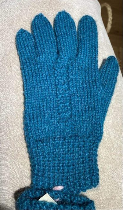 Wensleydale Hand Knit Gloves - Teal