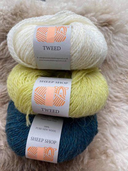 British Wool Tweed in Mallard, Sulphur and Pure