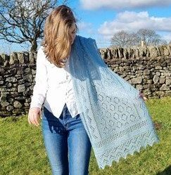 River Ure 4 Ply Wrap - shawl detail in a rural setting