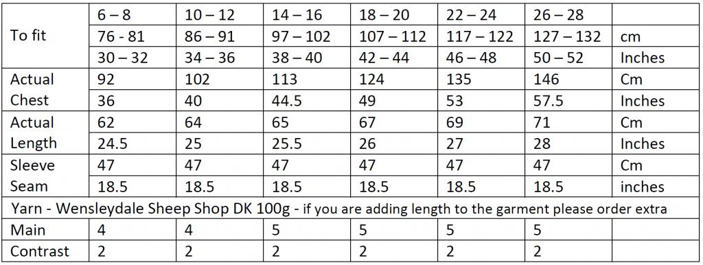 Wensleydale Gansey Size Chart