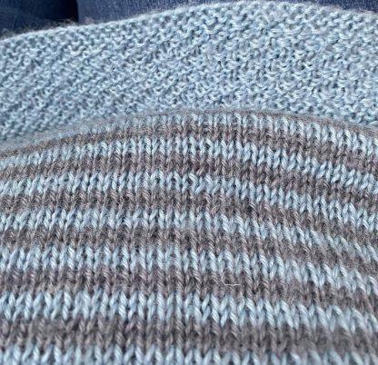 Wensleydale Stripey Gansey detail in Alice Blue and Low Level DK