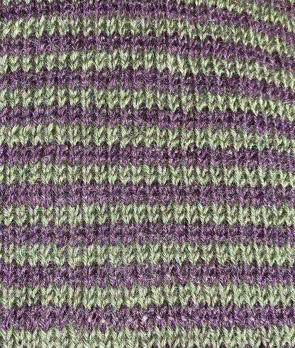 Wensleydale Stripey Gansey detail in Aubergine and Spruce DK