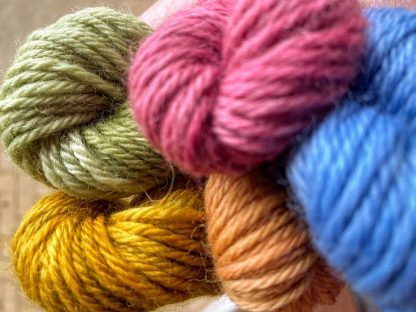 Closeup of DK British Wool coloured skeins by The Yorkshire Dales Wool Company