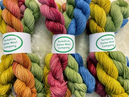 DK British Wool coloured skeins by The Yorkshire Dales Wool Company