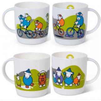 Herdy Bone China Mugs - Hiker and Cycler designs